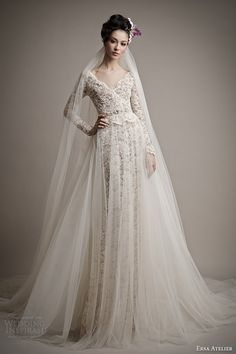 http://www.weddinginspirasi.com/2014/05/23/ersa-atelier-spring-2015-wedding-dresses/ ersa atelier 2015 yatie long sleeve lace #wedding dress tulle over skirt #weddings #weddingdress #bridal
