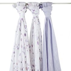 Fit for a fairy tale night, our once upon a time organic swaddles are made from breathable cotton muslin in adorable pink + purple prints.