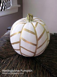 Herring bone painted pumpkin