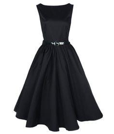 Classic 50s Audrey Hepburn Boat Neck Black Swing Retro Vintage Dress (3XL)