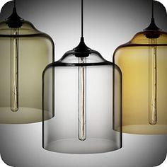 The Bell Jar Modern Pendant Light designed by Jeremy Pyles.  Love the simplicity!