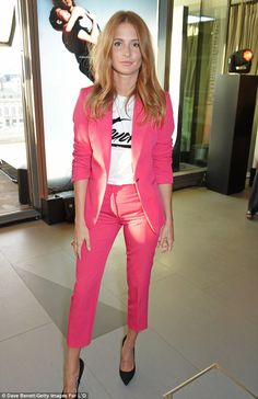 Millie Mackintosh in pink tuxedo at Emporio Armani event | Daily Mail Online
