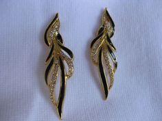Trifari Signed Earrings Black Gold Rhinestone | eBay