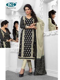 Nkt Astha Cambric Cotton with Chiffon Dupatta  (12 pc Catalog)