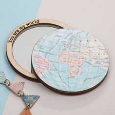 Personalised world map compact pocket mirror