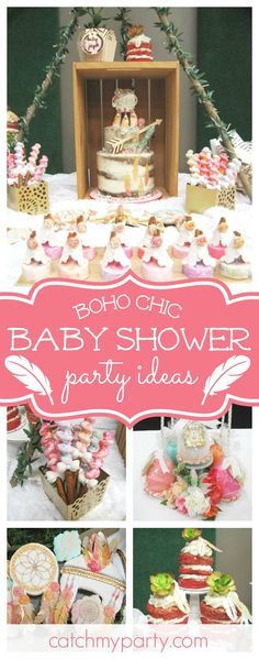 Don't miss this fantastic boho chic Baby Shower. The decorated cookies are adorable!! See more party ideas and share yours at CatchMyParty.com