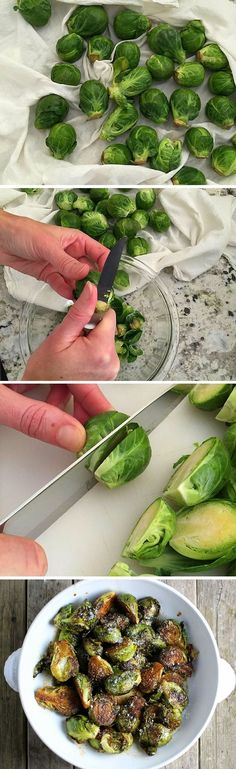 Super easy recipe for balsamic glazed Brussels sprouts. A perfect balance of savory and sweet! Fast and delicious, bacon and Parmesan are optional! Vegetable Recipes, Vegetarian Recipes, Cooking Recipes, Healthy Recipes, Advocare Recipes, Healthy Snacks, Healthy Eating, Clean Eating, Brussels Sprouts