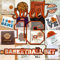 SALE Sweet 16 BASKETBALL Applique Embroidery Design Set  INSTANT DOWNLOAD for DIY projects, from Designed by Geeks. Use any embroidery machine - Brother, Viking, Janome, Bernina, Pfaff, Singer - to stitch this design.  This is a SET of 16 applique and embroidery designs with a basketball theme. Comes with the following designs:
