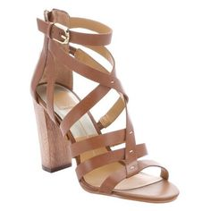 Dolce Vita Brown leather 'Nolin' strappy sandals ($62) ❤ liked on Polyvore featuring shoes, sandals, heels, sapatos, brown, strap sandals, block heel sandals, strappy high heel sandals, brown leather sandals and high heel shoes