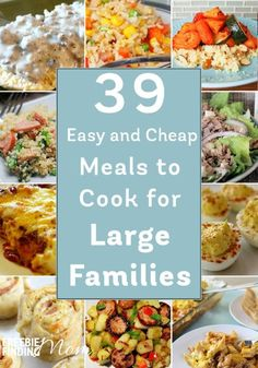 Recipes On A Budget Have a big family but a small budget? No problem! Here are 39 easy and cheap meals to cook for large families that are sure to inspire you. You'll find delicious slow cooker recipes, casserole recipes, pasta recipes, and more! Cheap Meals To Cook, Cheap Dinners, Frugal Meals, Budget Meals, No Cook Meals, Budget Recipes, Easy Meals, Food Budget, College Recipes