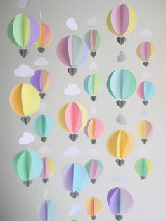 Party Pack of 6 Hot Air Balloon Garlands - Baby Mobile - Baby Shower Decorations - Up, up and away - Nursery Decor - Baby Gift - Scandi Baby