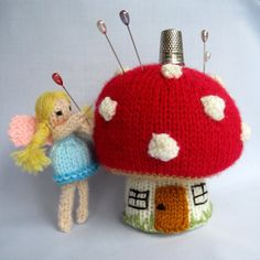 Toadstool Pincushion and Fairy - knitted pinkeep - INSTANT DOWNLOAD - PDF email knitting pattern - ePattern