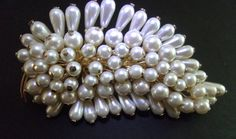 Huge Glass Pearls Cluster Brooch Layered Gold by RenaissanceFair