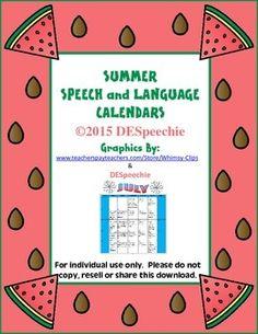 Summer Speech and Language Calendars - FREEBIE!