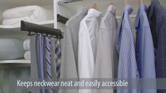 EasyClosets offers many features and upgrades available for your designs including drawers, baskets, shelves, and hampers. Easy Closets, Organizing Solutions, Tie Rack, Simple Closet, Closet Organization, Easy Access, Organize, Clever, Drawers