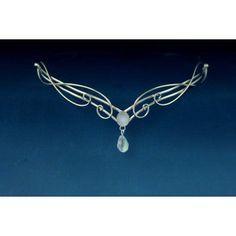 Celtic Silver Moonstone circlet, Elven Elvish Headpiece, Renaissance Medieval Headdress Tiara, Arwen Galadriel diadem LOTR