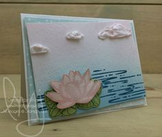 Waterlily | Stampin\' Up! | Climbing Orchid | Fabulous Flamingo | Remarkable You #literallymyjoy #lilypad #waterlily #embossingpaste #clouds #water #watercoloring #PowderPink #NatuallyEcelecticDSP #20172018AnnualCatalog