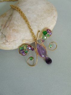 Wire Wrapped Free Form Butterfly Pendant Necklace by lesly on Etsy, $30.00