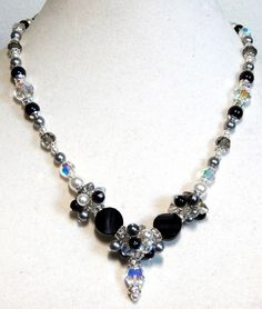 Swarovski Crystals and Pearls, Black White & Gray, Monochrome, Shades of Gray,  Matching Earrings - pinned by pin4etsy.com