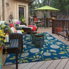 Bold Blooms Indoor-Outdoor Blue/Green Rug X - x x - Blue/Green), Style Haven Indoor Outdoor Area Rugs, Outdoor Living, Outdoor Decor, Outdoor Spaces, Outdoor Deck Decorating, Outdoor Ideas, Deck Decorating Ideas On A Budget, Decorating Decks, Outdoor Patios