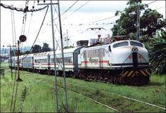 Trem de viagem da Fepasa, liderado pela lendária locomotiva GE V8