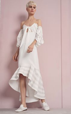 4bfc3ae8139 White Off the Shoulder Ruffle Midi Dress by Alexis