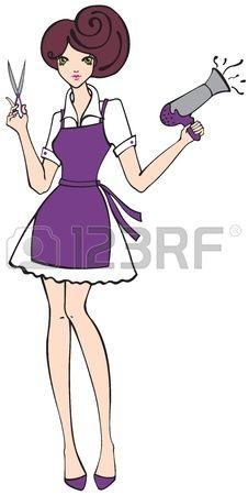 Peluquera sosteniendo el secador de cabello y las tijeras. Foto de archivo.