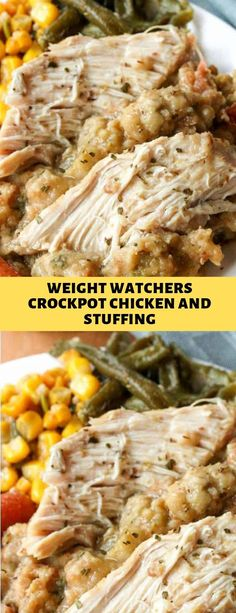 Weight Watchers Crockpot Chicken and Stuffing Diner Recipes, Ww Recipes, Slow Cooker Recipes, Chicken Recipes, Cooking Recipes, Chicken Soup, Crockpot Meals, Recipies, Stuffing Recipes