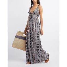 Charlotte Russe Printed Tie-Front Maxi Dress ($39) ❤ liked on Polyvore featuring dresses, navy combo, white bohemian dress, empire waist dress, navy maxi dress, tie front dress and white spaghetti strap dress