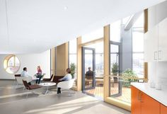 Designated staff breakout areas provide opportunities for staff to relax, decompress, and socialize. Credit: Stantec