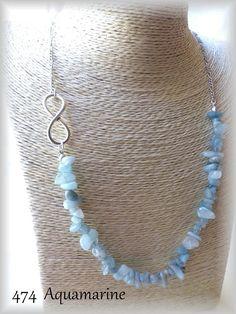 Necklace with gemstone chips & infinity charm aquamarine turquoise coral sodalite lapis lazuli amethyst rose quartz opalite citrine