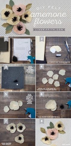 Sewing Fabric Flowers DIY Felt Anemone Tutorial by MichaelsMakers Lia Griffith - Make a simple yet stunning DIY felt flower with this pattern and tutorial from handcrafted lifestyle expert Lia Griffith. Handmade Flowers, Diy Flowers, Fabric Flowers, Paper Flowers, Felt Flowers Patterns, Felted Flowers, Felt Diy, Felt Crafts, Fabric Crafts