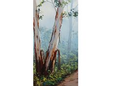 Misty GUM TREES PAINTING commissioned Australian by GerckenGallery, $158.00