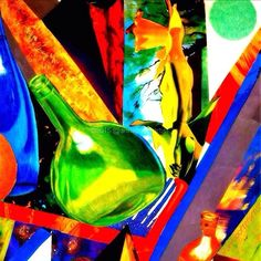 Intersections, abstract collage by Anna Porter digital collage ~ 20 x 20