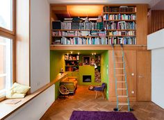 Library in a loft... I might do this the opposite way though- with the books on the bottom and the reading nook on top. Books are really heaving to be storing above my head. Just saying.