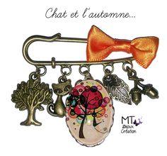 """Broche en laiton 5cm """"Le chat et l'automne : Broche par mt-bijoux-creation"""