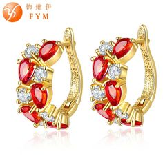 >> Click to Buy << FYM Red Crystals Hoop Earrings Fashion Jewelry Gold Color Brand Design Zirconia Earrings for Women Best Quality Jewelry #Affiliate