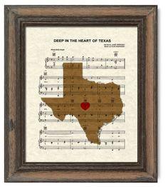 Texas Map Deep In The Heart of Texas Sheet by TexasGirlDesigns, $12.00