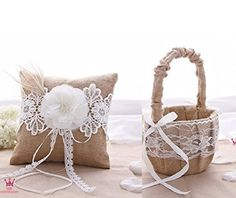 Rustic Wedding Hessian Burlap Lace Ring Pillow & Flower Girl Basket Set Party Favors