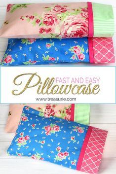 Learn how to make a pillowcase with a border & French seam. Best of all it won't take much more than 15 minutes of your time. Step by Step - 3 sizes. Small Pillow Cases, Sewing Pillow Cases, Sewing Pillows, Diy Pillows, Pillow Cases For Kids, Diy Pillow Cases, Pillow Ideas, Decorative Pillow Cases, Throw Pillows