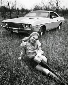 1972 Knee High Lace-Up Leather Boots and a Dodge Challenger. Rat Rods, Up Auto, 70s Muscle Cars, Pin Up, Us Cars, Dodge Challenger, Car Girls, Vintage Photography, Vintage Cars