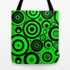 Lime Circles Tote Bag by Alice Gosling - $18.00  ALL Tote Bags are now full bleed, printed both sides and available in 3 sizes #bag #green #black #circles #pattern #lime