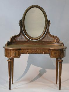 Louis XVI pale green and gilded kidney shape dressing table with oval mirror, 150cm x 112cm x 53cm. (TABC60066)  **Available to hire**