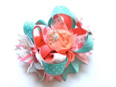 Fairy Princess Boutique Hair Bow -- Pink and Aqua stacked OTT boutique hair bow for baby, toddler, girl, teen