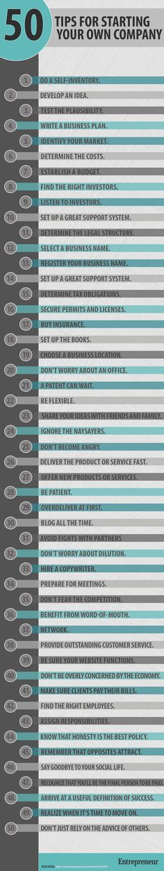 50 Tips For Starting Your Own Company ideas business infographic company business tips business ideas inforgraphics startup entrepreneurship startups entrepreneurship ideas entrepreneurship tips small business Marketing Online, Marketing Digital, Business Marketing, Affiliate Marketing, Business Launch, Business Entrepreneur, Entrepreneur Ideas, Marketing Training, Media Marketing