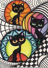 ACEO - Zentangle With Black Cats - Original Art