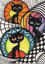 ACEO - Zentangle With Black Cats  -  Original Art
