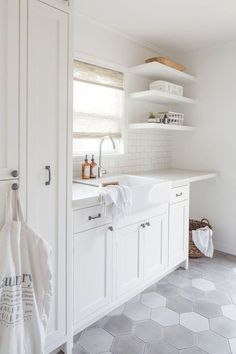 White laundry room with gray hexagon tile floor. White laundry room with gray hexagon tile floor. White laundry room with gray hexagon tile floor. White laundry room with gray hexagon tile floor. Laundry Room Tile, White Laundry Rooms, Laundry Room Remodel, Farmhouse Laundry Room, Room Tiles, Laundry Room Organization, Laundry Room Design, Basement Laundry, Laundry Storage