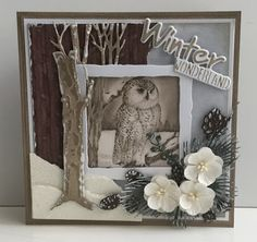 Handmade card by DT member Astrid with Craftables Distressed Square (CR1375), Winter Wonderland (CR1347), Tiny's Trees Birch (CR1337), Tiny's Trees Oak (CR1338), Creatables Petra's Twigs Set (LR0437) and Petra's Larix (LR0438) from Marianne Design