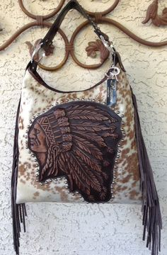 Raviani Western Hair On Brindle Leather Handbag Fringe Purse Indian Chief Native #Raviani #ShoulderBag